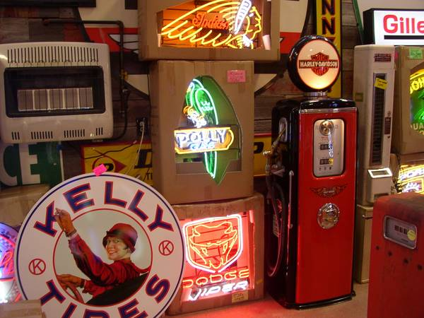 signs, neon new & used, old porcelain, custom